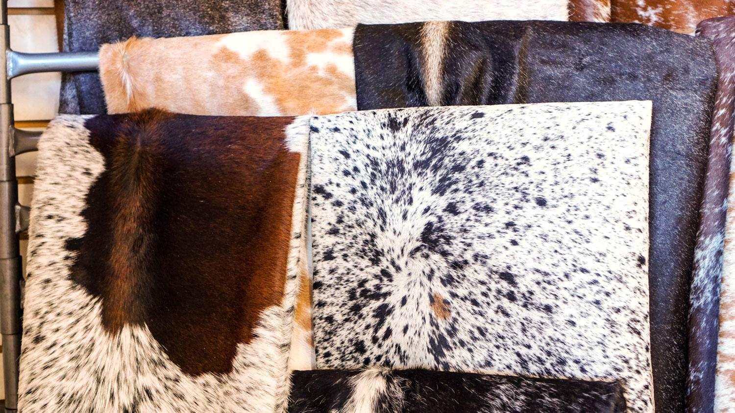 "Mix Black and Off White Leather Hair on Cow Hide 4/"" x 6/"" Pre-cut 2"