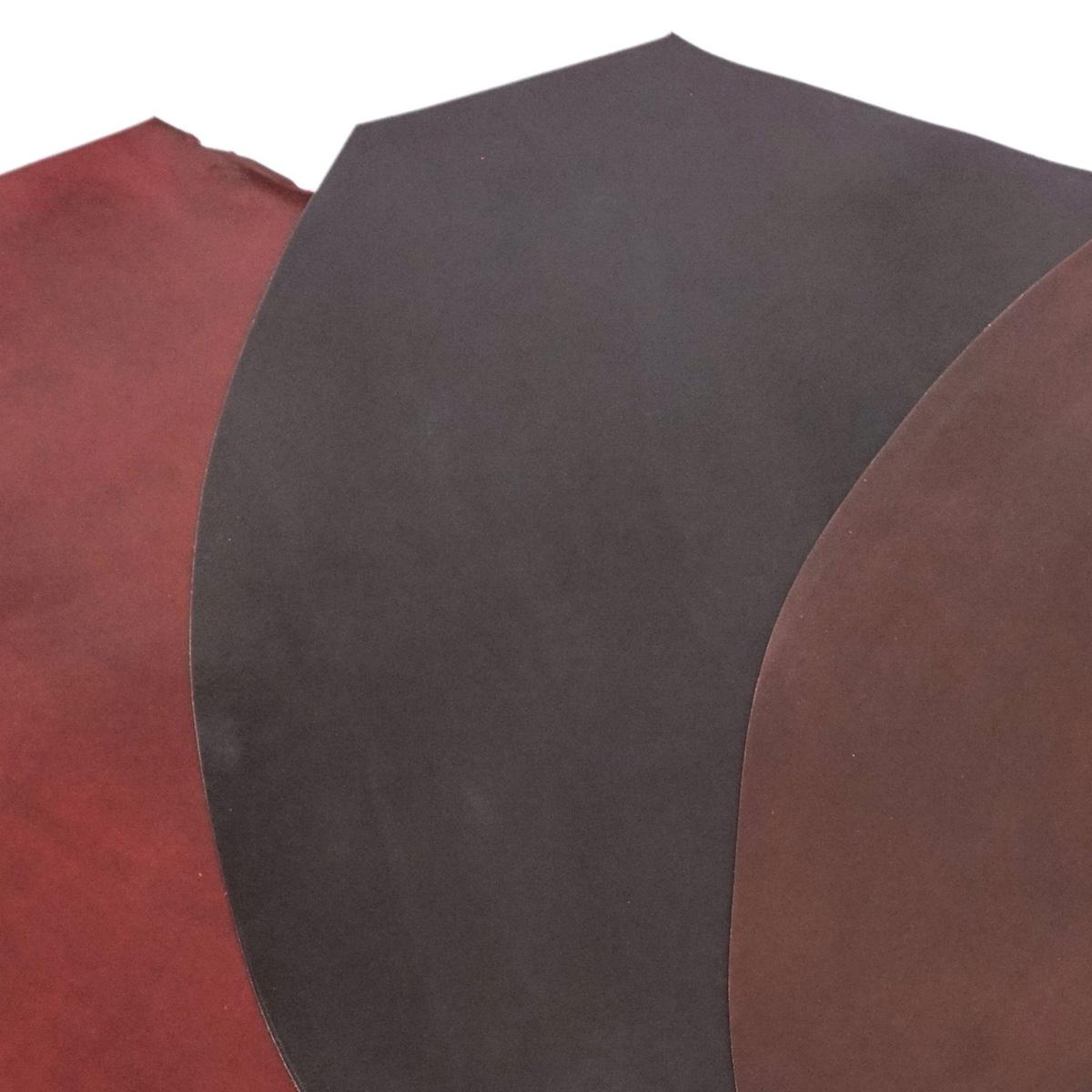 3 shell cordovan pieces in black, brown, and burgundy