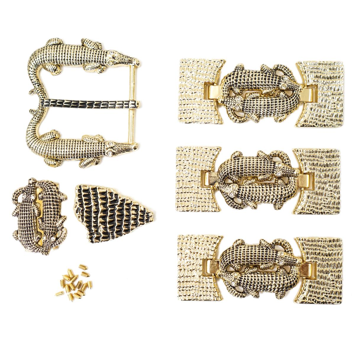 Duo Gator Buckle Set Gold With White Stone 35 Mm